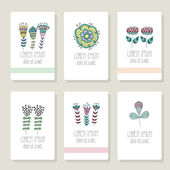 Set of cards, invitation with hand drawn floral elements. — Stock Vector