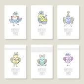 Jeu de cartes avec oiseaux mignons dans différentes actions. — Vecteur