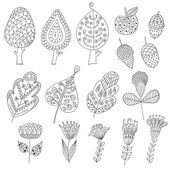 Set of cartoon, doodle trees, flowers, fruits, leaves. — Stock Vector