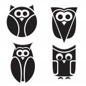 Stylized owls on white background. — Stock Vector