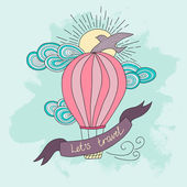 Background with hot air balloon and motivational quotes, Lets travel. — Stock Vector
