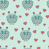 Cute cartoon vector owls. Vector pattern. — Stock Vector