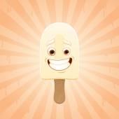 Engraçado um sorvete de baunilha — Vetor de Stock