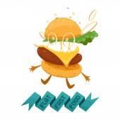 Flat fast food cheeseburger — Stock Vector