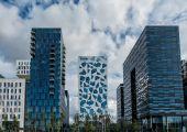 Modern skyline near the harbor in Oslo, Norway — Stock Photo