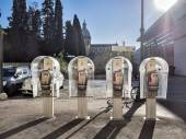 Four public telephones in a row, Rome — Stock Photo