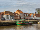 Harbor in medieval city of Ribe, Denmark — Stock Photo