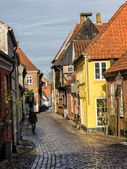 Homes on cobbled streets in Ribe, Denmark — Stock Photo