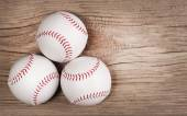 Baseball. Balls on wood background with copy space. — Stock Photo
