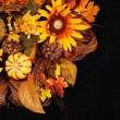 Autumn or Thanksgiving Bouquet over black background. Pumpkin, S — Stock Photo #54084513