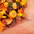 Autumn or Thanksgiving Bouquet over beige background. Pumpkins, — Stock Photo #54084515
