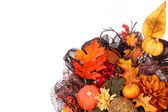 Pumpkins and Fall Leafs. Autumn or Thanksgiving Bouquet isolated — Stock Photo