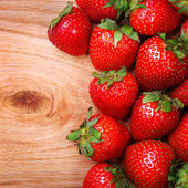 Strawberries on Wooden Background — Stock Photo