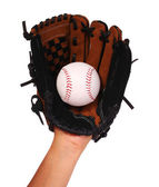 Hand of Baseball Player with Glove isolated on white — Stock Photo