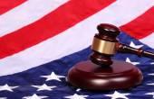 Judge Gavel and American Flag — Stock Photo