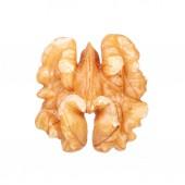 Kernel walnut isolated on white. Macro — Stock Photo