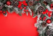 Christmas background. Branch of christmas tree with pine cones — Stock Photo