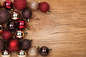 Christmas Balls Over Wooden Background.  — Photo