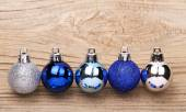 Blue Christmas Balls Over Wooden Background — Stockfoto