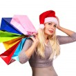 Christmas woman with shopping bags. Girl with Santa Hat isolated — Stock Photo #59840525