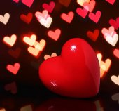 Valentine Red Heart over Bokeh in dark. Valentines Day Card — Stock Photo