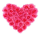 Pink roses in heart shape isolated isolated on white background — Stock Photo
