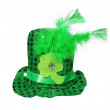 St. Patrick's Hat with feathers and clover leaf isolated white  — Stock Photo #65329167
