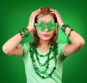 St Patrick's day Girl. Blonde Young woman wearing shamrock shape — Stock Photo