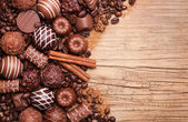 Collection of Belgian truffles. Chocolate candies — Stock Photo