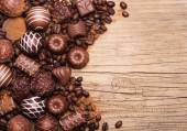 Chocolate candies. Collection of beautiful Belgian truffles — Stock Photo