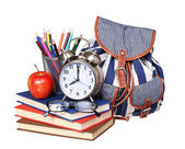 Back to school concept. Books, apple, glasses, backpack — Stock Photo