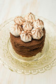 Layer cake with cocoa and meringue — Stock Photo