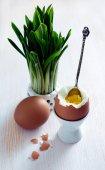 Ovos cozidos e alho-poró selvagem — Fotografia Stock