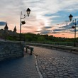 Road leading to medieval castle, sunset — Stock Photo #73312515