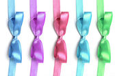 Ribbons with bow on a white background. Color variation — Stock Photo