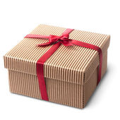 Gift carton wrapped red ribbon with bow, isolated on white — Stock Photo