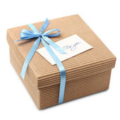 Gift carton wrapped blue ribbon with bow, isolated on white — Stock Photo