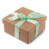 Gift carton wrapped green ribbon with pastel bow — Stock Photo
