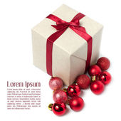 Gift wrapped red ribbon with bow, isolated on white — Stock Photo