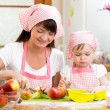 Mother and daughter making apple pie together — Stock Photo #53427375