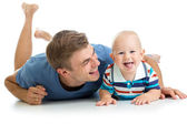 Happy father and baby son having fun pastime — Stock Photo