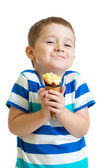 Funny kid boy eating ice cream isolated — Stock Photo