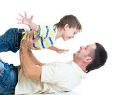 Kid son and dad having fun pastime — Stock Photo