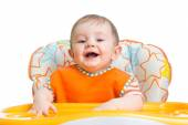 Happy baby child waiting for food — Stock Photo