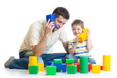 Father and child son role playing together — Stock Photo