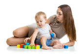 Cute mother and child boy play together — Foto de Stock