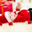 Cute Baby weared Christmas clothes — Stock Photo #59968521