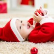 Baby weared Christmas clothes — Stock Photo #59968529