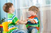 Playful kids friends at home — Stock Photo