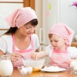 Mother and kid prepare cookies — Stock Photo #63037489